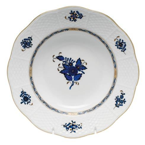Herend Collections Chinese Bouquet Black Sapphire Rim Soup Plate $130.00