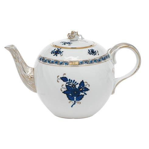 Herend Chinese Bouquet Black Sapphire Teapot w/rose $335.00