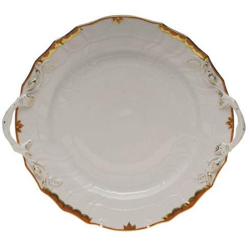 Herend Princess Victoria Rust Chop Plate W/Handles $360.00