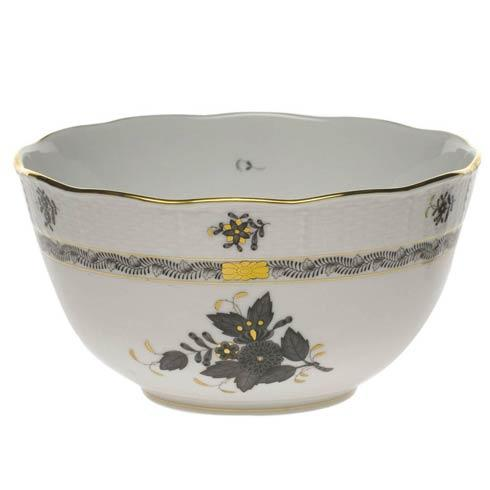 Herend Chinese Bouquet Black Round Bowl $200.00