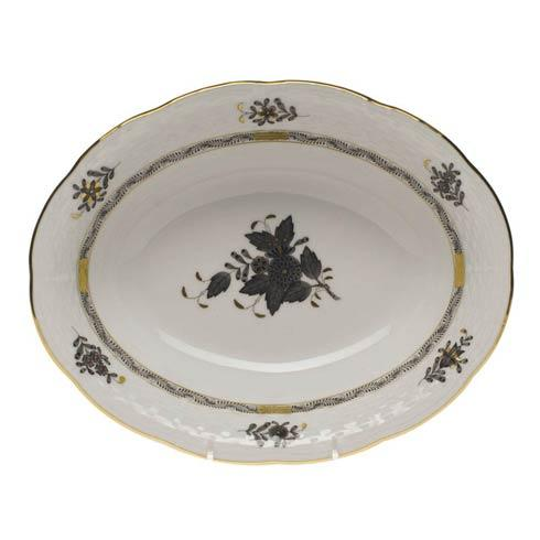 Herend Chinese Bouquet Black Oval Veg Dish $225.00