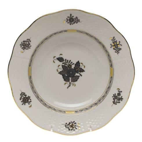 Herend Collections Chinese Bouquet Black Rim Soup Plate $130.00