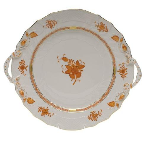 Herend Collections Chinese Bouquet Rust Chop Plate W/Handles $455.00