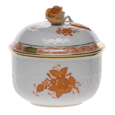 Herend  Chinese Bouquet Rust Cov Sugar W/Rose $175.00