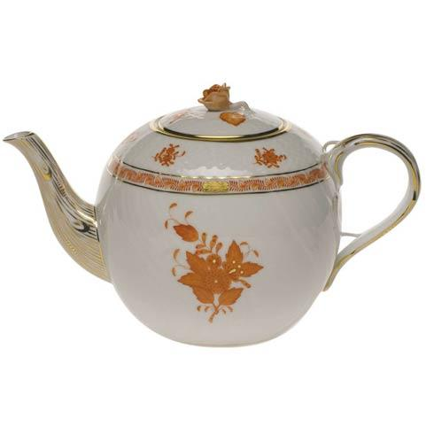 Herend Collections Chinese Bouquet Rust Tea Pot W/Rose $415.00
