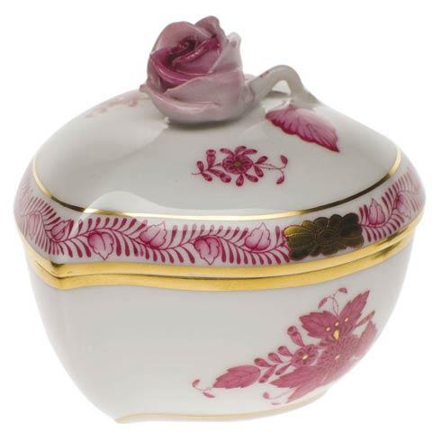 Herend Collections Chinese Bouquet Raspberry Heart Bonbon W/Rose $135.00
