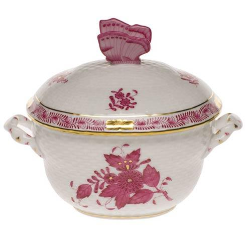 Herend Collections Chinese Bouquet Raspberry Cov Bonbon W/Butterfly $250.00