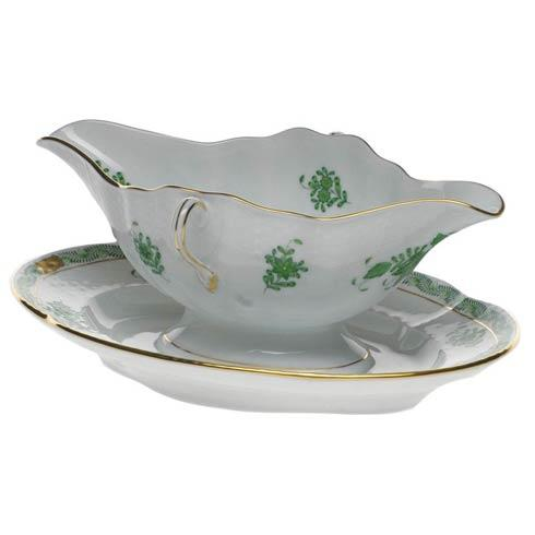 Herend  Chinese Bouquet Green Gravy Boat W/Fixed Stand $490.00
