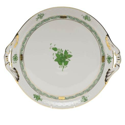 Herend Chinese Bouquet Green Round Tray W/Handles $350.00