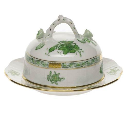 Herend  Chinese Bouquet Green Cov Butter Dish $275.00