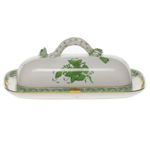 Herend  Chinese Bouquet Green Butter Dish W/Branch $350.00