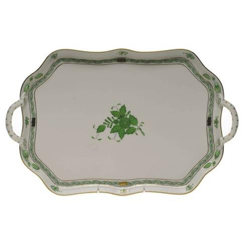 Herend  Chinese Bouquet Green Rec Tray W/Branch Handles $570.00