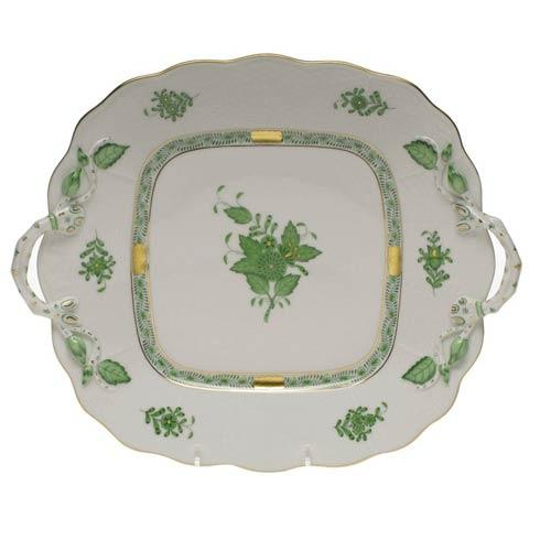 Herend  Chinese Bouquet Green Square Cake Plate W/Handles $415.00