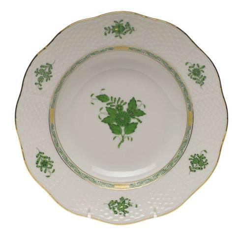 Herend Chinese Bouquet Green Rim Soup Plate $130.00