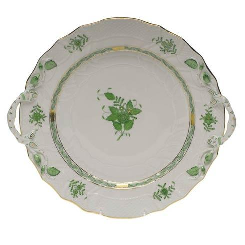 Herend  Chinese Bouquet Green Chop Plate W/Handles $455.00