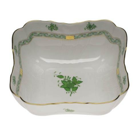 Herend  Chinese Bouquet Green Square Salad Bowl $445.00
