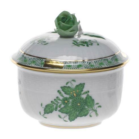 Herend  Chinese Bouquet Green Cov Sugar W/Rose $145.00