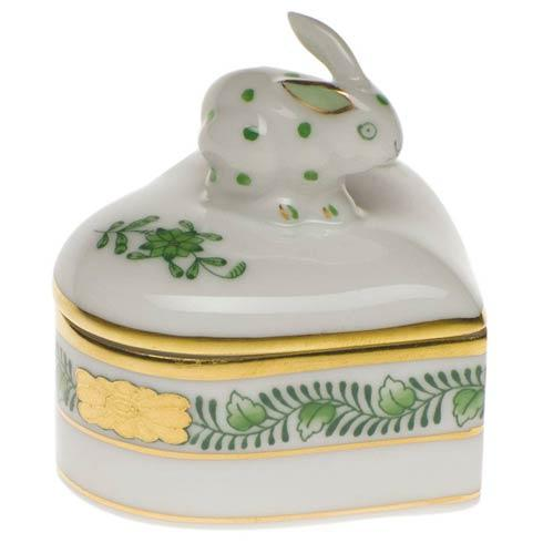 Herend Chinese Bouquet Green Heart Box W/Bunny $115.00