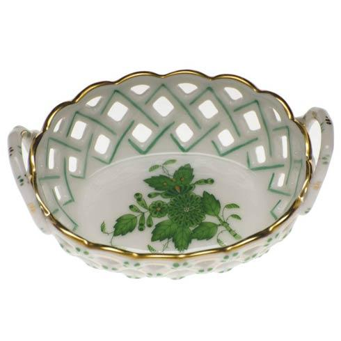 Herend Chinese Bouquet Green Sm Openwork Basket W/Handles $125.00