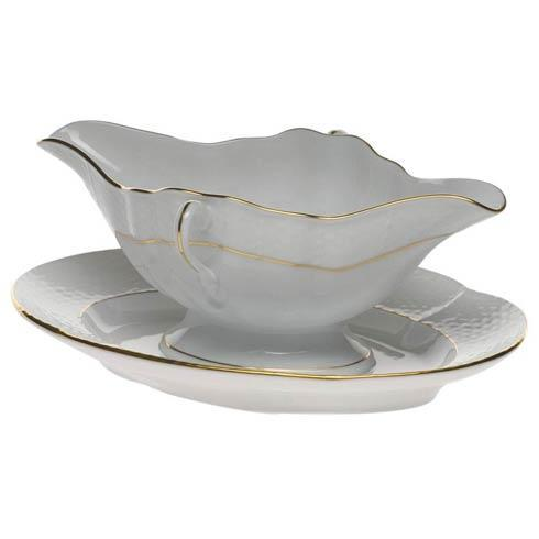 Herend Collections Golden Edge Gravy Boat W/Fixed Stand $265.00