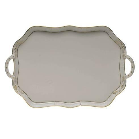 Herend  Golden Edge Rec Tray W/Branch Handles $300.00