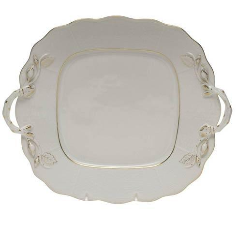 Herend Collections Golden Edge Square Cake Plate W/Handles $225.00