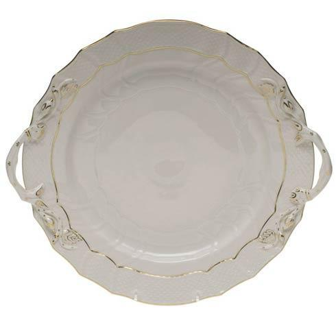 Herend Collections Golden Edge Chop Plate W/Handles $250.00