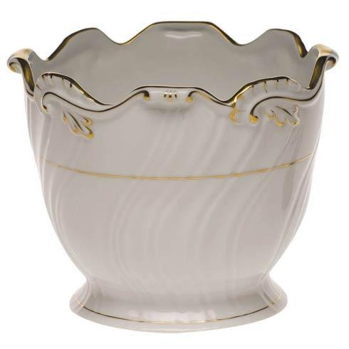 Herend  Golden Edge Ribbed Cachepot $250.00