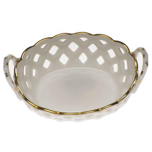 Herend  Golden Edge Sm Openwork Basket W/Handles $80.00