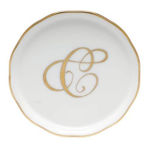 Herend Home Accessories Monogram Coasters - Gold Monogram Coaster - C $26.50