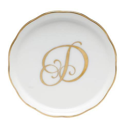 Herend Home Accessories Monogram Coasters - Gold Monogram Coaster - D $25.00