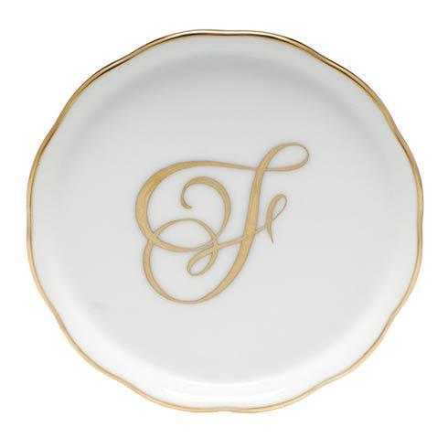 Herend Home Accessories Monogram Coasters - Gold Monogram Coaster - F $25.00