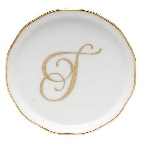 Herend Home Accessories Monogram Coasters - Gold Monogram Coaster - T $25.00