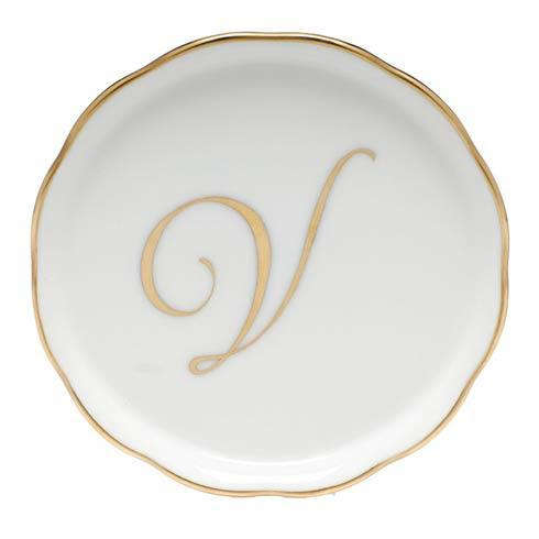Herend Home Accessories Monogram Coasters - Gold Monogram Coaster - V $25.00