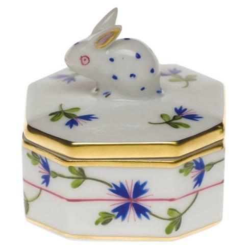 Herend Collections Blue Garland Petite Octagonal Box - Bunny $120.00