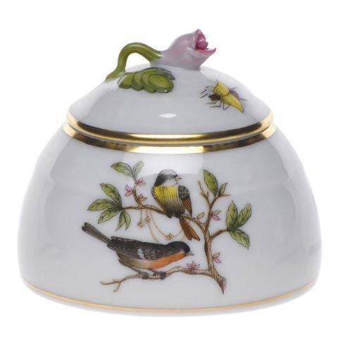 Herend Rothschild Bird Original (no border) Honey Pot W/Rose $165.00
