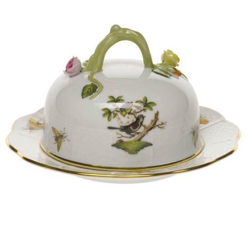 Herend  Rothschild Bird Cov Butter Dish $310.00