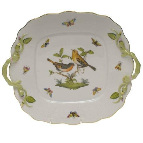 Herend Rothschild Bird Original (no border) Square Cake Plate W/Handles $480.00