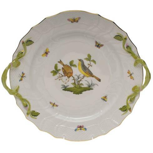 Herend Rothschild Bird Original (no border) Chop Plate W/Handles $550.00