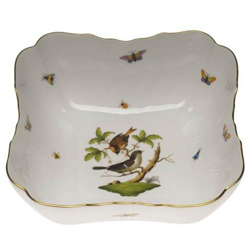 Herend Rothschild Bird Original (no border) Square Salad Bowl $550.00