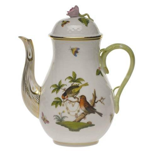 Herend Rothschild Bird Original (no border) Coffee Pot W/Rose $480.00