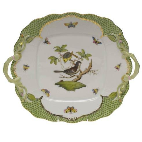 Herend Collections Rothschild Bird Green Border Square Cake Plate W/Handles $700.00