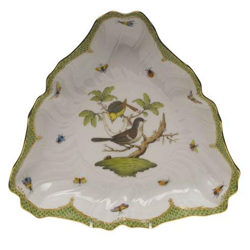 Herend Collections Rothschild Bird Green Border Triangle Dish $550.00