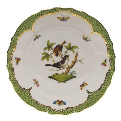 Herend Collections Rothschild Bird Green Border Dinner Plate - Motif 04 $475.00