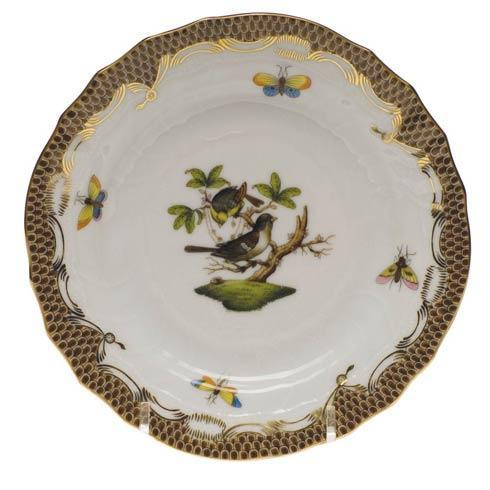 Herend Rothschild Bird Brown Border Bread & Butter Plate - Mo 01 $280.00