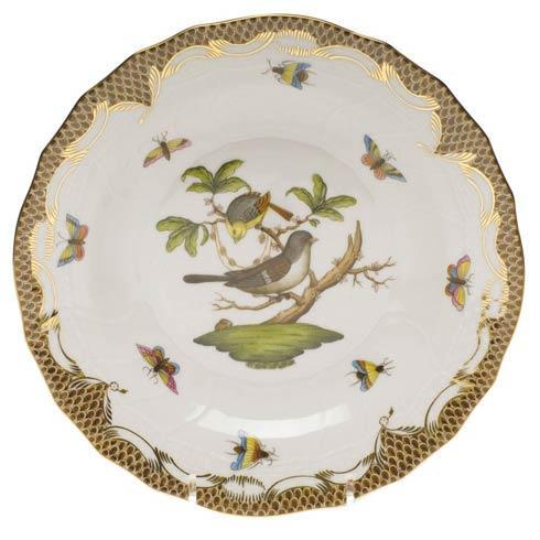 Herend Rothschild Bird Brown Border Dessert Plate - Motif 01 $385.00