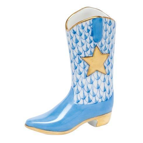 Herend Figurines Miscellaneous Cowboy Boot - Blue $195.00
