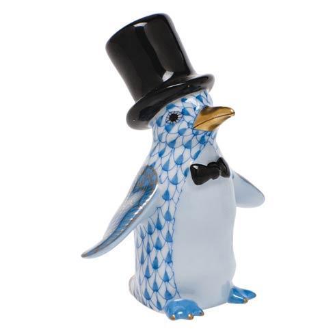 Herend Figurines Waterfowl Tuxedo Penguin - Blue $295.00
