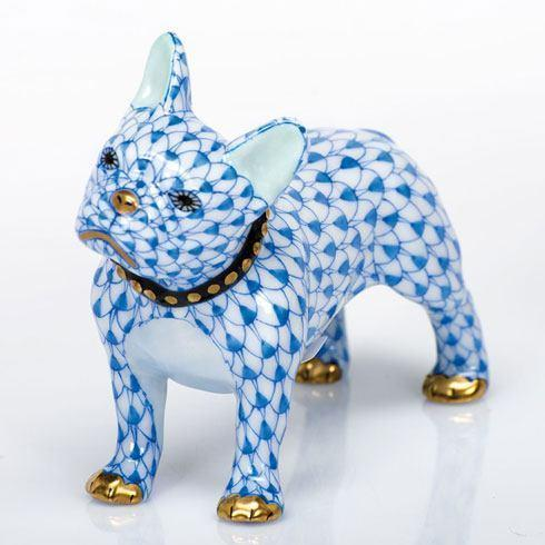 Herend Figurines Dogs Frenchie - Blue $365.00