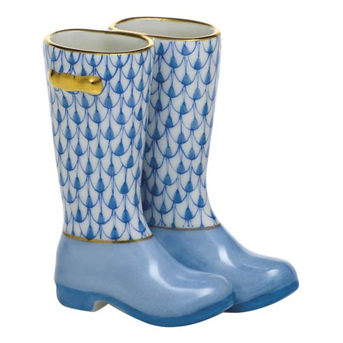 Herend Figurines Miscellaneous Pair of Rain Boots-Blue $310.00